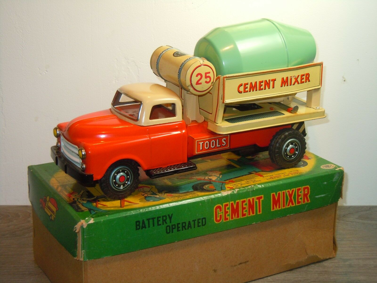 Battery Operated Cement Mixer - Modern Toys Masudaya Japan in Box *36182