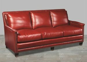 Image Is Loading Red Leather Sofa 100 Top Grain Black Nickel