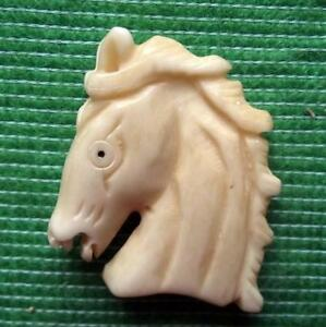 Japanese Detailed Hand Carved Scrimshaw Netsuke Bovine Bone Horse Pony Head A Ebay