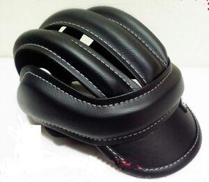 Black Bike Helmet Vintage Retro Leather Classic Bicycle Cycling