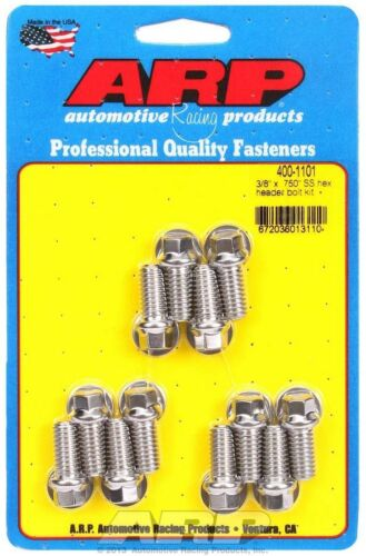 Arp 400-1101 Sbc Chevy Header Stainless Bolt Set Bolts 3//8 Head .750