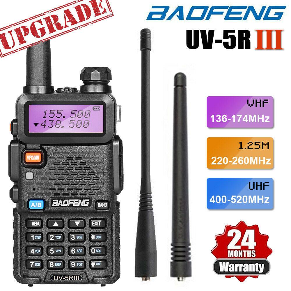 trytrybuy BAOFENG UV-5R III Tri-Band Walkie Talkie Long Range Two Way Ham Radio + Earpiece