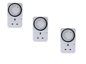 3 x 24 Hour 24hr Mains Plug In Timer Switch Time Clock Socket UK 3 Pin Adapter