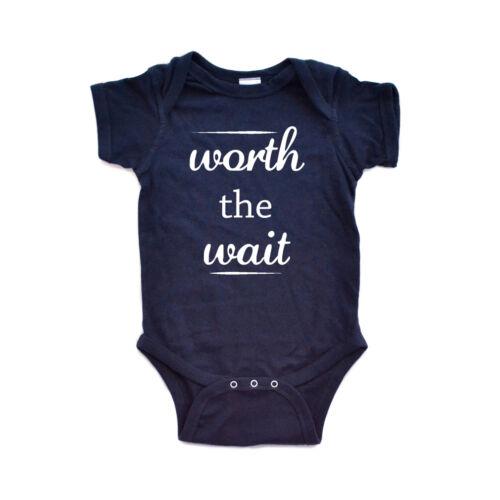 Apericots Cute Worth the Wait Funny Infant Short Sleeve Soft Cotton Bodysuit