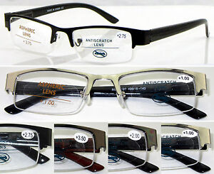 L397-3-Pairs-Metal-Semi-Rimless-Reading-Glasses-Spring-Hinges-Aspheric-Lenses