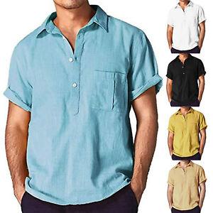 Men-V-Neck-Short-Sleeve-Basic-T-shirt-Casual-Loose-Tops-Blouse-Polo-Shirts-Tee