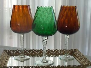MAGNIFICENT RETRO GROUP HAND CRAFTED VENETIAN / MURANO OPTIC ART VASES ITALY C
