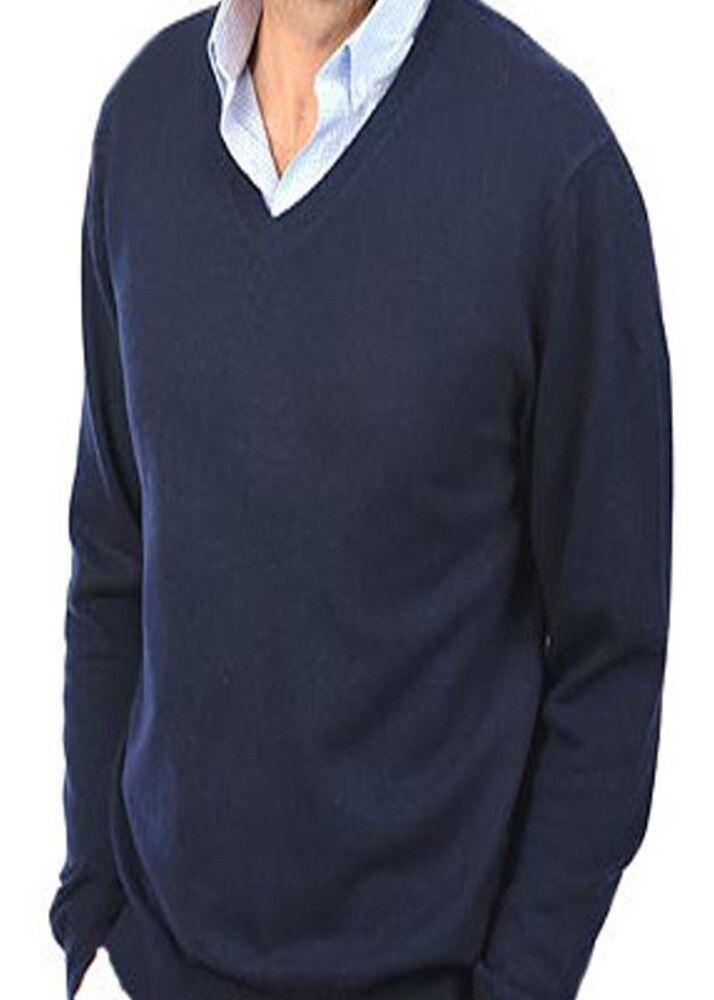 Balldiri 100% Cashmere Herren Pullover V Ausschnitt dunkelblau XXL