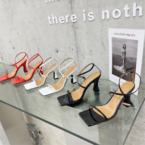 Womens Sandals High Heels Stiletto Square Open Toe Ankle Buckle Flip flops Shoes