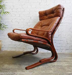 Vintage Retro 60s Mid Century Danish Era Westnofa Bentwood Leather Lounge Chair