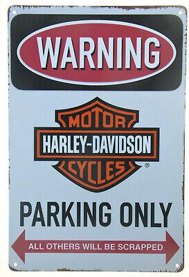 H-D Embossed Parking Only Sign Harley-Davidson Tin Sign Black 2010971