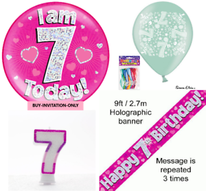 Image Is Loading Girls 7th Birthday Party Pack Giant Badge Banner