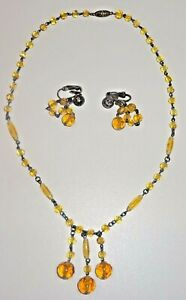 Art-Deco-Faceted-Amber-Glass-Beaded-Triple-Drop-Necklace-w-Earrings