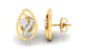 Classy-0-39-Cts-Natural-Diamonds-Stud-Earrings-In-Fine-Certified-14K-Yellow-Gold