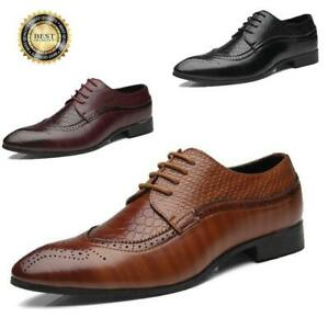 Mens-Oxfords-Brogue-Leather-Shoes-Formal-Business-Weddings-Dress-Shoes-Big-Size