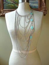 Aqua Blue Green Faux Stone Gem Multi Strand Chain Necklace Silver Tone Bold Long