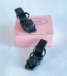 Flower-Sandals-for-Tyler-Gene-Doll-Black-Patent-Kingstate-Shoes-HTF-New-in-Box