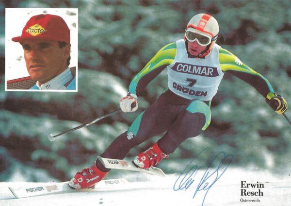 Autografo Erwin Resch Ski Alpine Ha Vinto 3 Weltcup Corsa 80er Anni Austria #