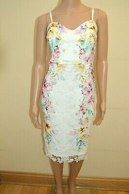 16 RRP £75 GENUINE MICHELLE KEEGAN LIPSY Floral Cami Bodycon Dress Sizes  UK 14