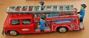 Vintage-STI-Japan-Tin-Plate-Friction-Toy-Fire-Engine-in-Good-Working-Order