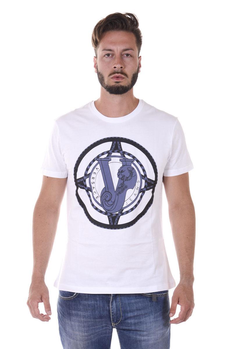 T shirt Maglietta Versace Jeans Sweatshirt REGULAR Cotone  Herren Bianco B3GQA780 3