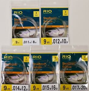 Rio-Salmon-Steelhead-Tapered-Leader-3-pack-9-FT-ALL-SIZES-8-10-12-16-20-Pound