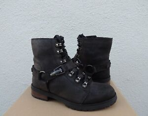 2eeeff69015 Details about UGG FRITZI BLACK LEATHER/ SHEEPSKIN LINED LACE-UP BOOTS, US  6.5/ EUR 37.5 ~ NIB