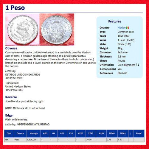2 LARGE 1957-1967 SILVER MEXICO UN PESO COINS TWO 1 PESO MEXICAN COINS!