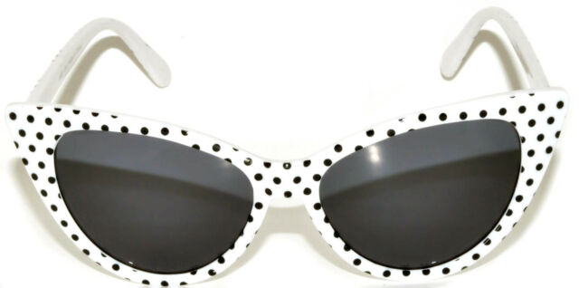 eaf9f692bb2c CAT EYE OWL SUNGLASSES DARK LENS POLKA DOTS GLASSES SHADES UV400 WHITE WITH  DOTS