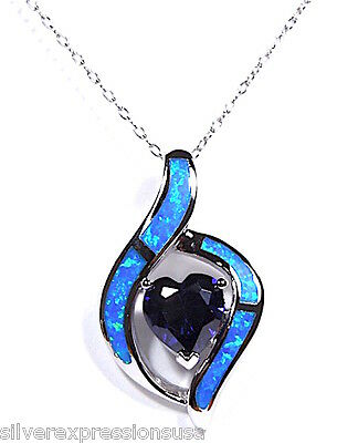 2.40 Cts Heart Tanzanite & Blue Opal 925 sterling silver Pendant Necklace 18''