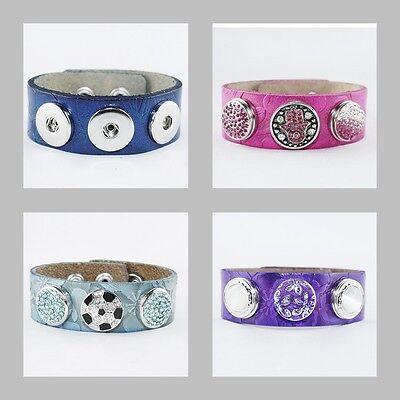 Blau Türkis Blume Muster passend für Chunk Druckknopf Button Click Leder Pink
