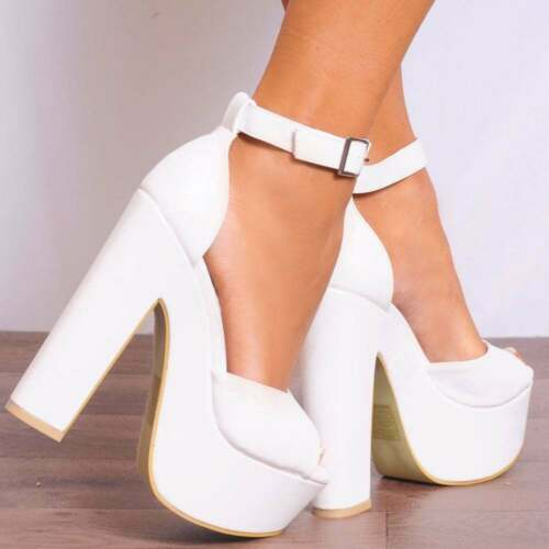 WHITE BLOCK HIGH HEELED HEELS PEEP TOES STRAPPY SANDALS SHOES SIZE UK 7