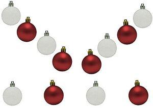 12 Red White Mini Baubles Christmas Matt Glitter Festive Tree