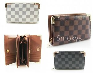 Ladies Designer Inspired Checked Purse Women/'s Folded Magdot Closure Wallet New