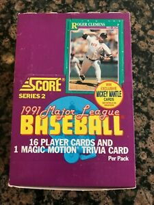 1991-SCORE-WAX-PACK-SERIES-2-BASEBALL-BOX-OF-36-POSS-MANTLE-AUTOGRAPH