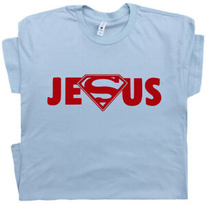 5c7ad7487dab3 Details about Superman Jesus T Shirt Cool Christian Rock Logo Religious  Saying Bible Quote Tee