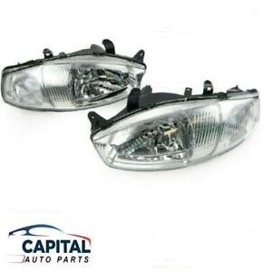 Pair of Headlights Left Right for Mitsubishi Mirage CE 3 Door Series 2 1998-2002