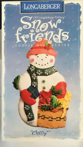 Vintage-Christmas-Longaberger-Pottery-Snow-Friends-Chilly-1997-Cookie-Mold
