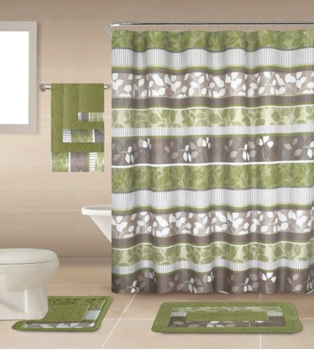 Rochel 18 Piece Shower curtain set with Geometric design Made of 100/%polyester.