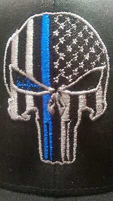 Punisher Thin Blue Line Flex Fit Ball Cap hat police USA flag tactical new hat