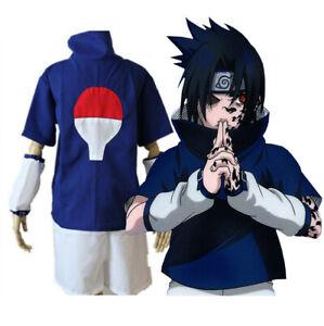 Details about Naruto Uchiha Sasuke Costume Halloween Cosplay Set + Headband  + Kunai , XXL 2XL