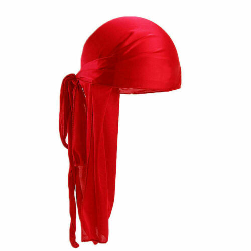 Men Women Silky Durag Bandanna Turban Hat  Wigs Doo Rag Biker Headband Headwear