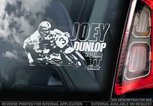Joey-Dunlop-Coche-Pegatina-Ventana-Motocicleta-Isla-de-Man-Tt-Moto-V1