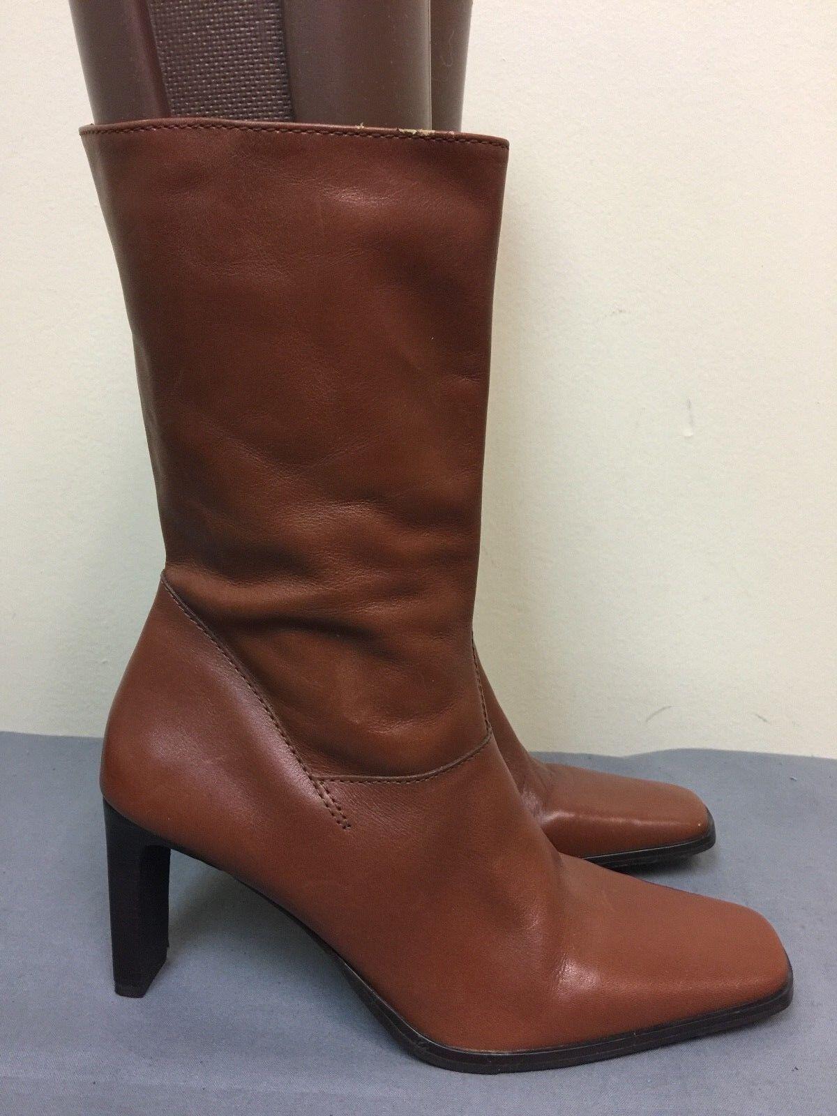 Parade women High Heel Brown mid calf Boots side Zipper Size 8