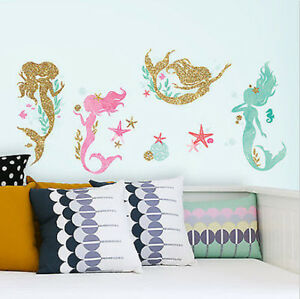 Image Is Loading Little Mermaid Sleeps Here Glitter Wall Stickers 21