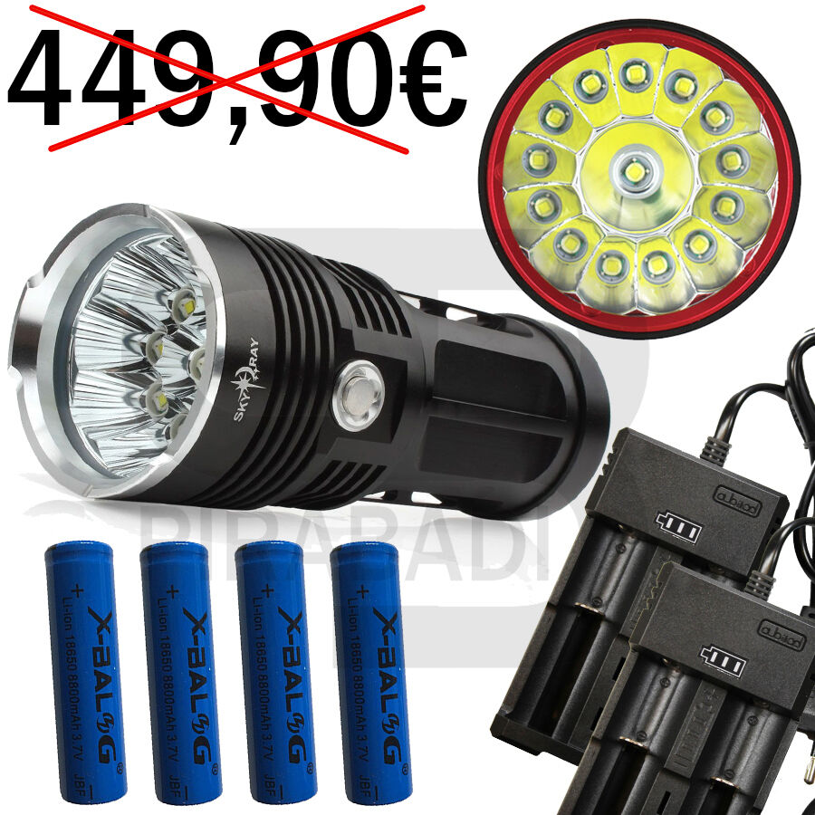 14 led flashlight 34000 lumens led flashlight + 4  batteries police + 2 charger  new products novelty items