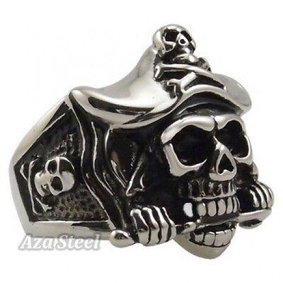 Men's Silver Pirate Skull Knife Caribbean Biker Stainless Steel Ring Size 8-13