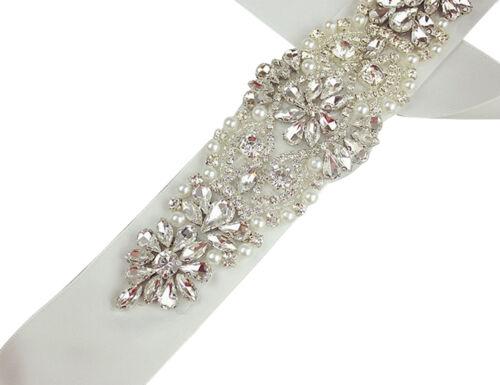 Elegant Crystal Bridal Sash Rhinestone Pearl Beaded Belt Luxury Wedding Dress