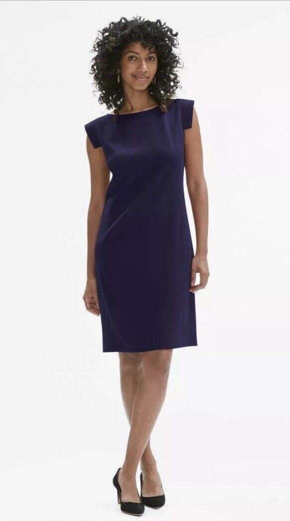MM Lafleur The Sarah Dress Größe 4 Sheath Boat Neck Dark Blau