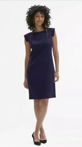 MM-Lafleur-The-Sarah-Dress-Size-4-Sheath-Boat-Neck-Dark-Blue